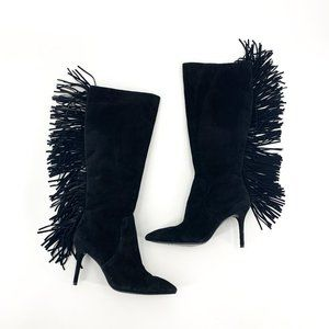 Brian Atwood Black Suede Fringe Mella Boots